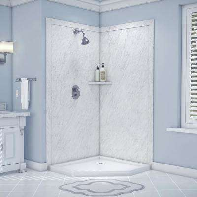 Splendor 40 in. x 40 in. x 80 in. 7-Piece Easy Up Adhesive Corner Shower Wall Surround in Frost
