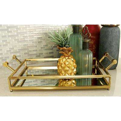 Modern Gold-Finished Decorative Mirror Tray