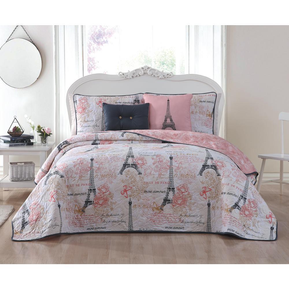 Amour 5-Piece Pink Queen Quilt Set