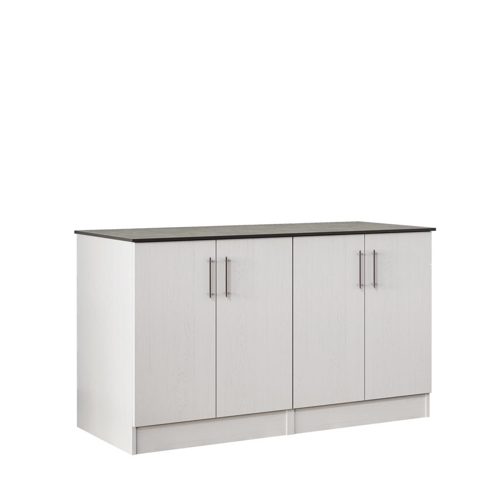 WeatherStrong Miami 59.5 in. Outdoor Cabinets with Countertop 4 Full Height Doors in White