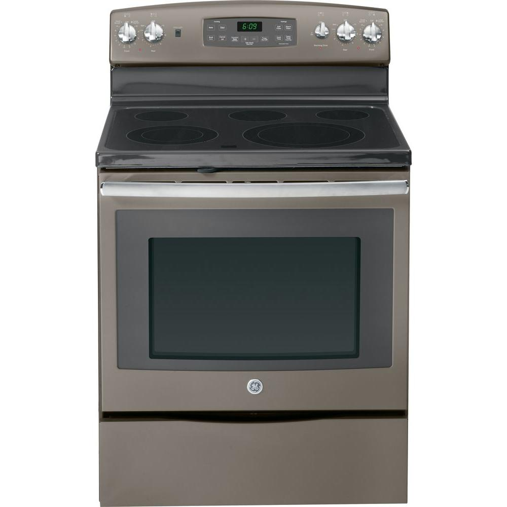 GE 5.3 cu. ft. Electric Range with Self-Cleaning Oven and Convection in Slate
