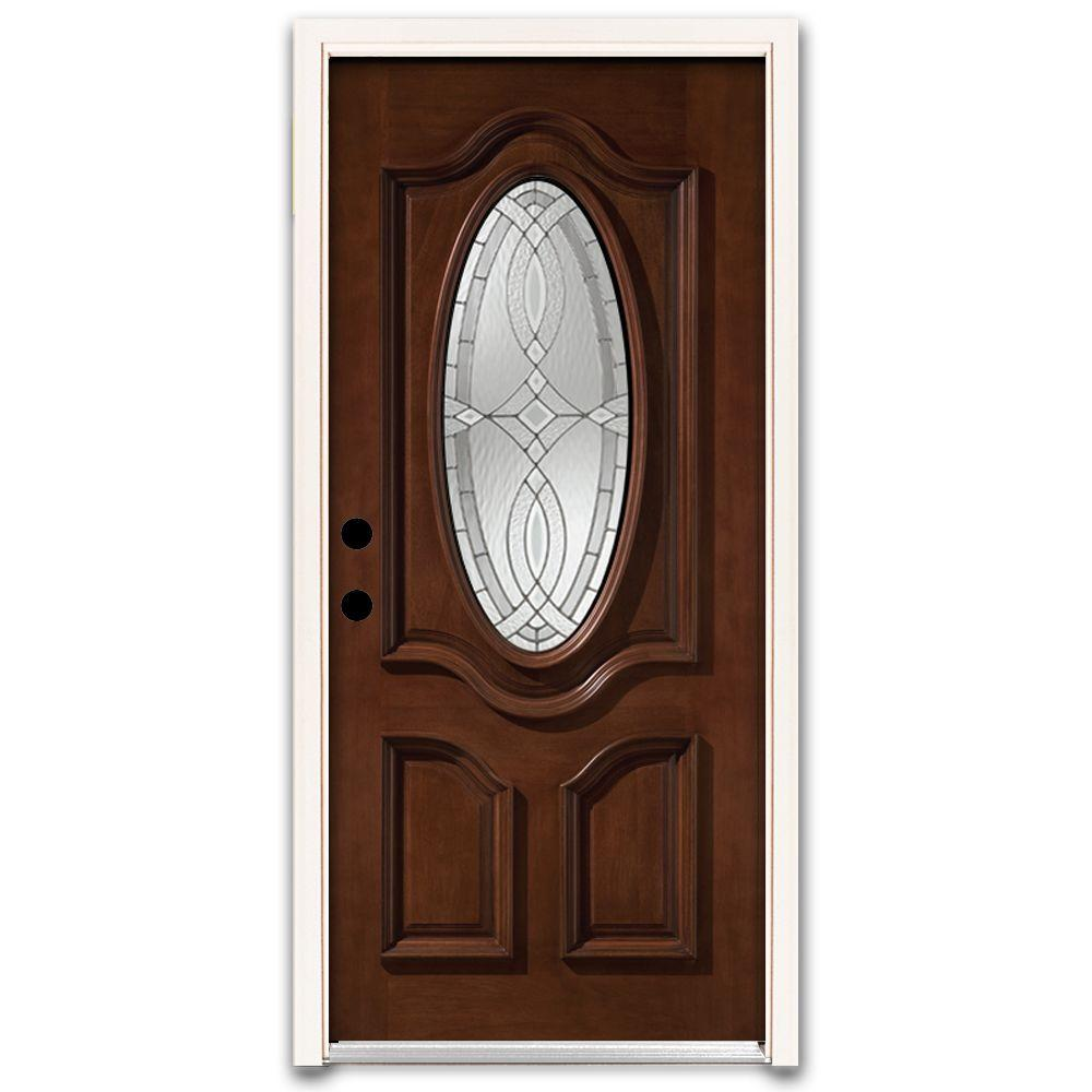 Steves & Sons Annapolis 3/4 Oval Stained Mahogany Wood Prehung Front Door-DISCONTINUED