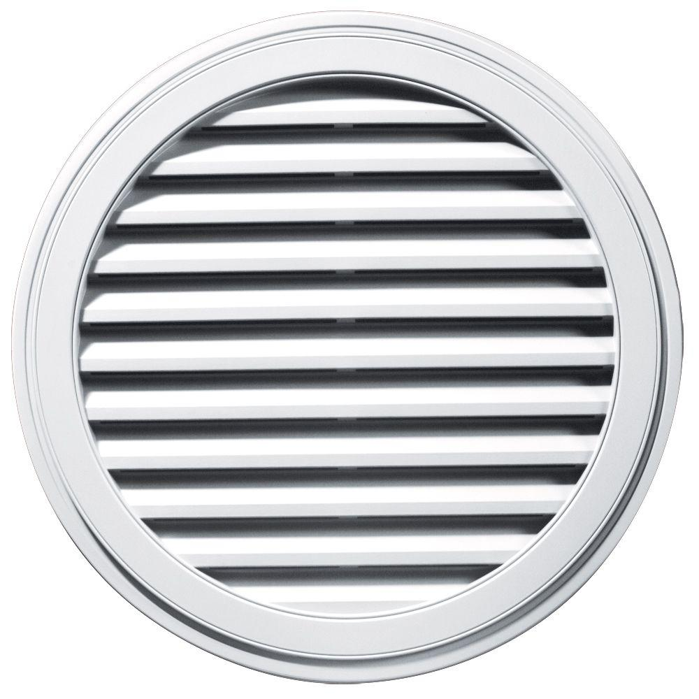 Builders Edge 36 In. Round Gable Vent In White