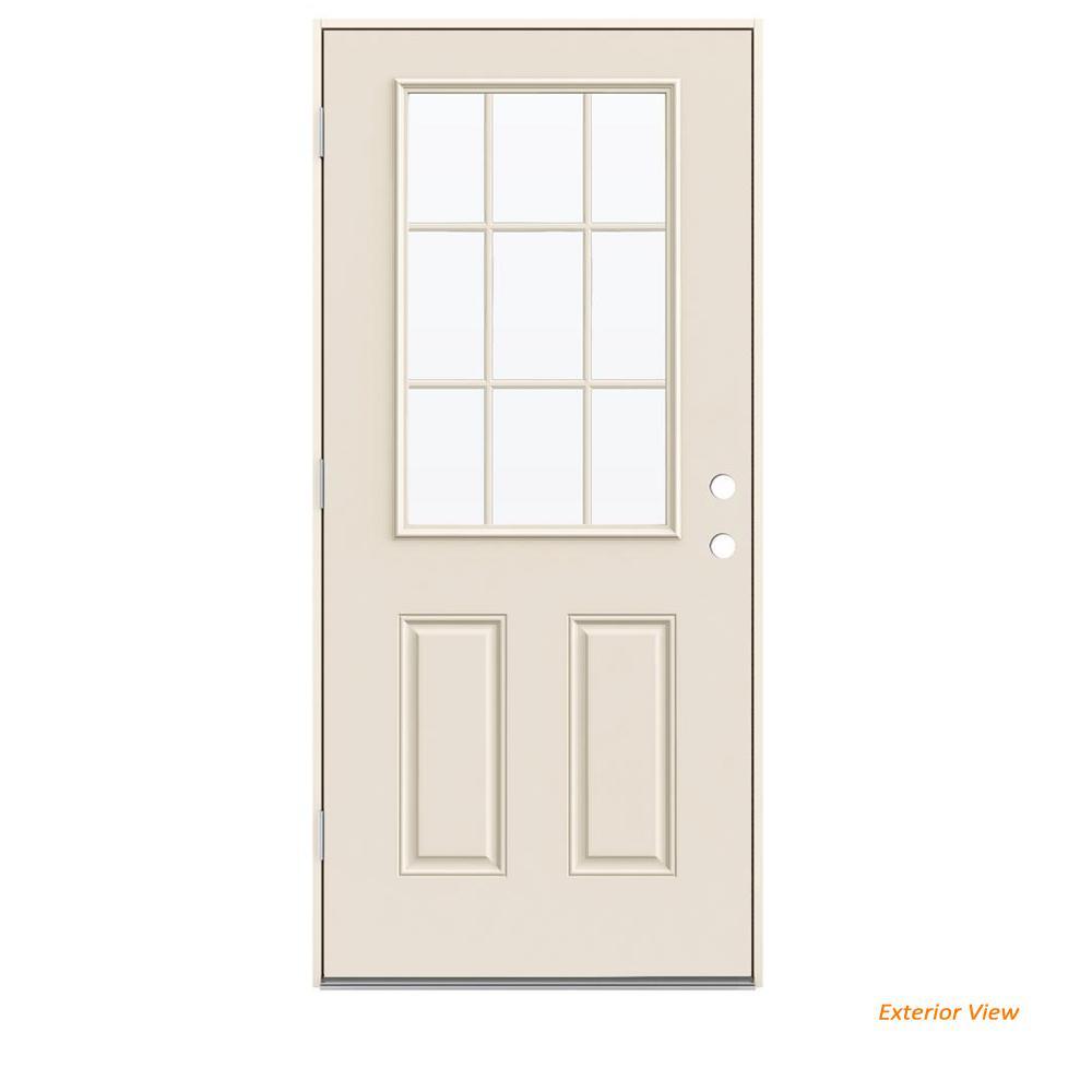 36 in. x 80 in. 9 Lite Primed Steel Prehung Right-Hand Inswing Back Door