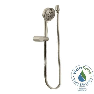 Eco-Performance 4-Spray 4.4 in. Single Wall Mount Handheld Shower Head in Brushed Nickel