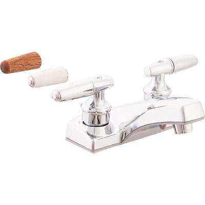 Traditional Collection 4 in. Centerset 2-Handle Bathroom Faucet with 3-Handle Inserts in Chrome