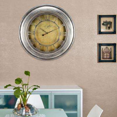 24 in. H Round Silver Weathered Analog Wall Clock with Cut-Out Numerals