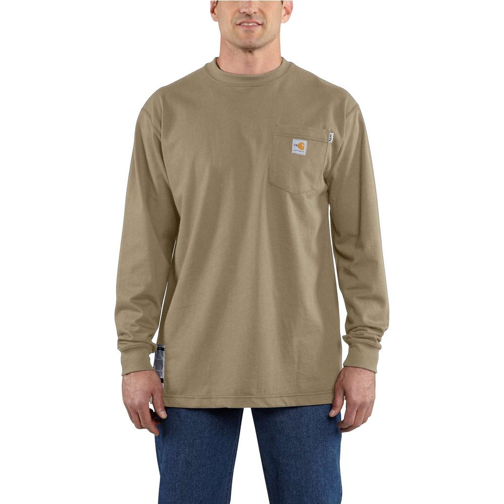 ec25e93533af Carhartt Men's Tall 2X-Large Khaki FR Force Cotton Long Sleeve T ...