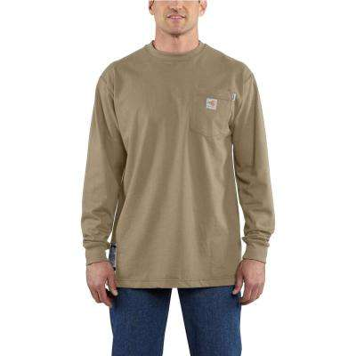 Men's Regular X-Large Khaki FR Force Cotton Long Sleeve T-Shirt
