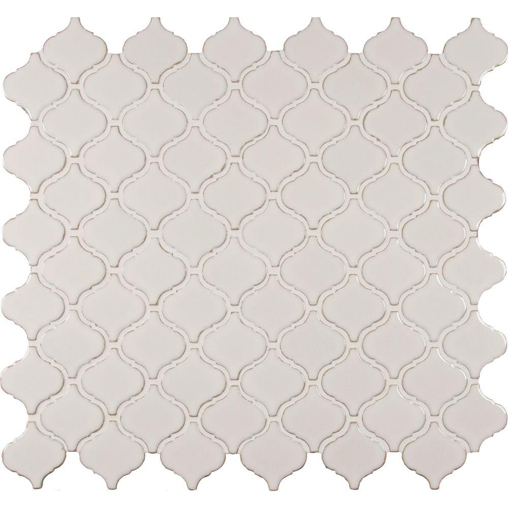 MS International Bianco Arabesque 9.84 in. x 10.63 in. x 6 mm Glazed Ceramic Mesh-Mounted Mosaic Tile