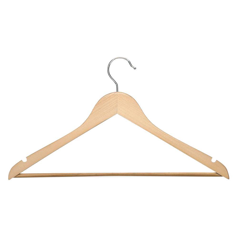 Basic Suit Maple Hanger with Non-Slip Bar (8-Pack)