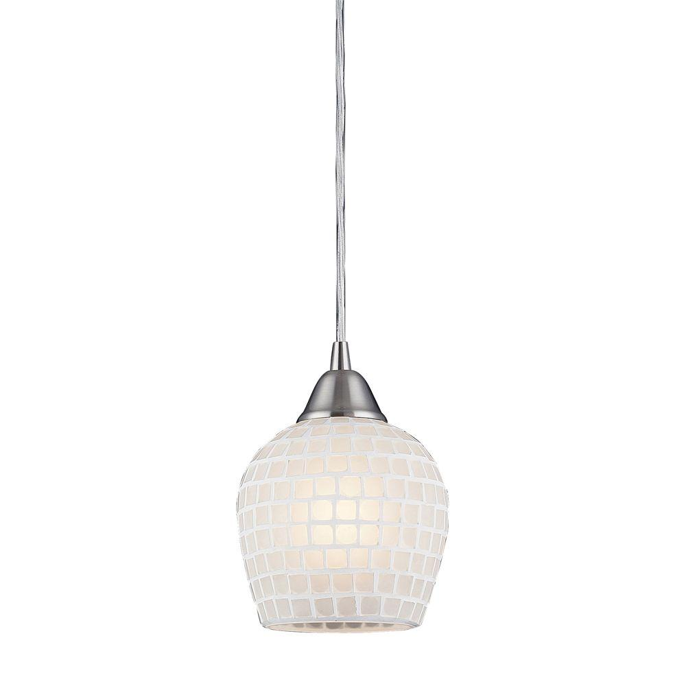 An Lighting Fusion 1 Light Satin Nickel Pendant With White Mosaic Gl Shade