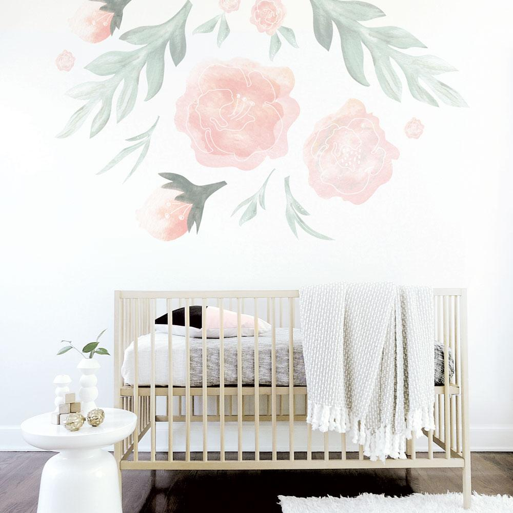 Tulip Rose Wall Art Painting For Kitchen Room Golden: Trendy Peas Large Flower Wall Decal-WD-LF-1