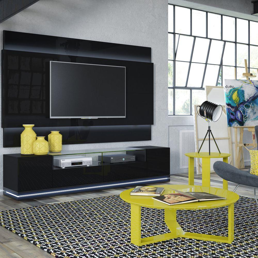 24efc6f6f6fe93 Manhattan Comfort Vanderbilt Black Gloss and Black Matte Entertainment  Center 17553 - The Home Depot