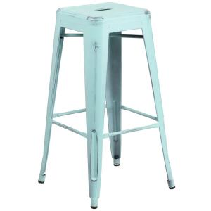30 in. Distressed Blue Bar Stool