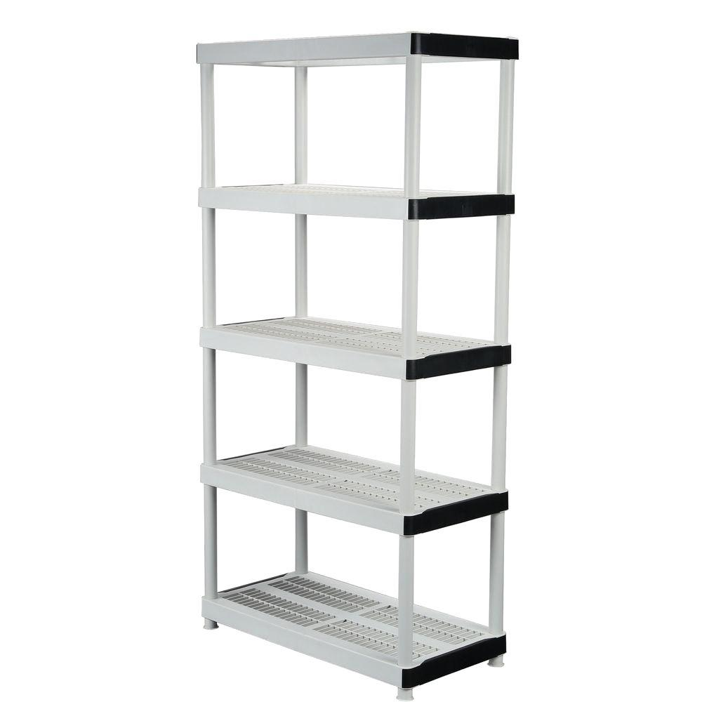 hdx 36 in w x 72 in h x 18 in d 5 shelf plastic ventilated rh homedepot com shelves for home theatre components shelves for home bar