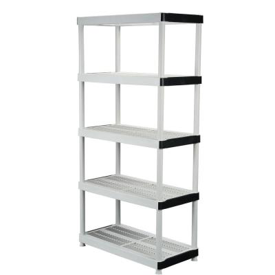 Gray 5-Tier Plastic Garage Storage Shelving Unit (36 in. W x 72 in. H x 18 in. D)