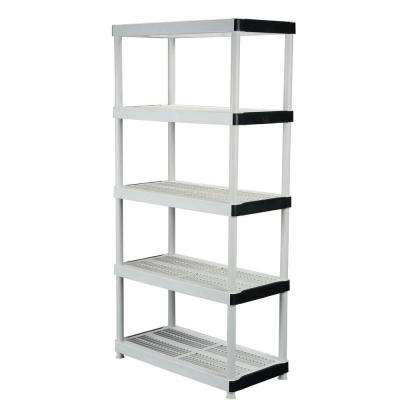 5-Tier Plastic Garage Storage Shelving Unit in Gray (36 in. W x 72 in. H x 18 in. D)