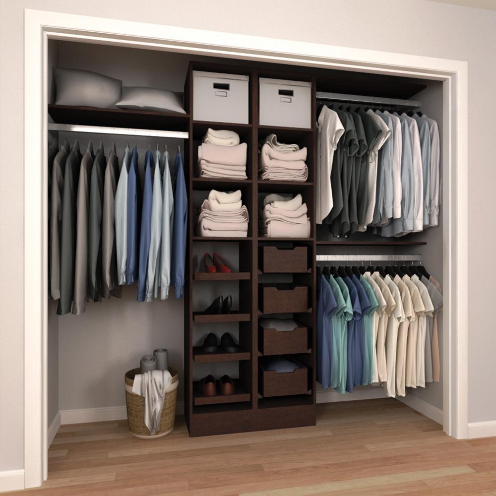 84 in. H x 60 in. to 120 in. W x 15 in. D Mocha Melamine Reach-In Closet Kit