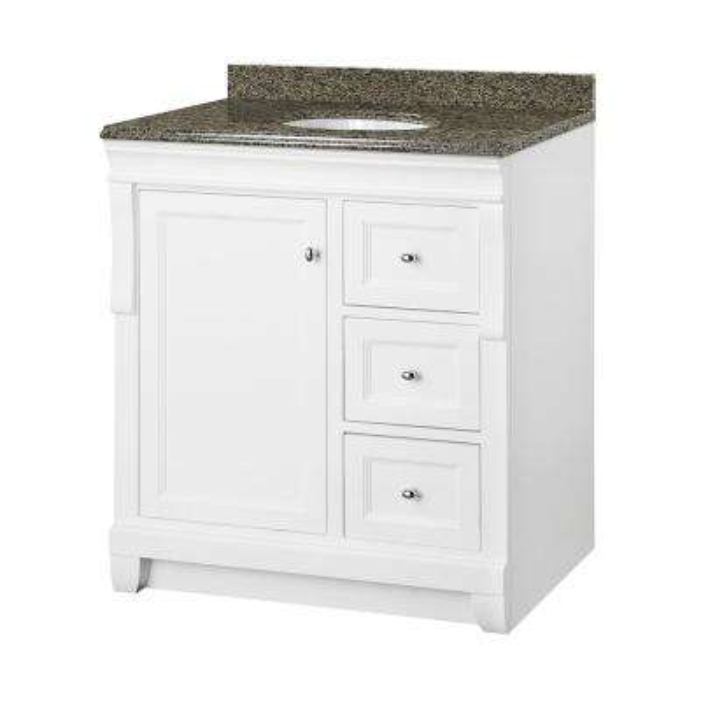 Naples 31 in. W x 22 in. D Vanity in White with Granite Vanity Top in Quadro with White Basin