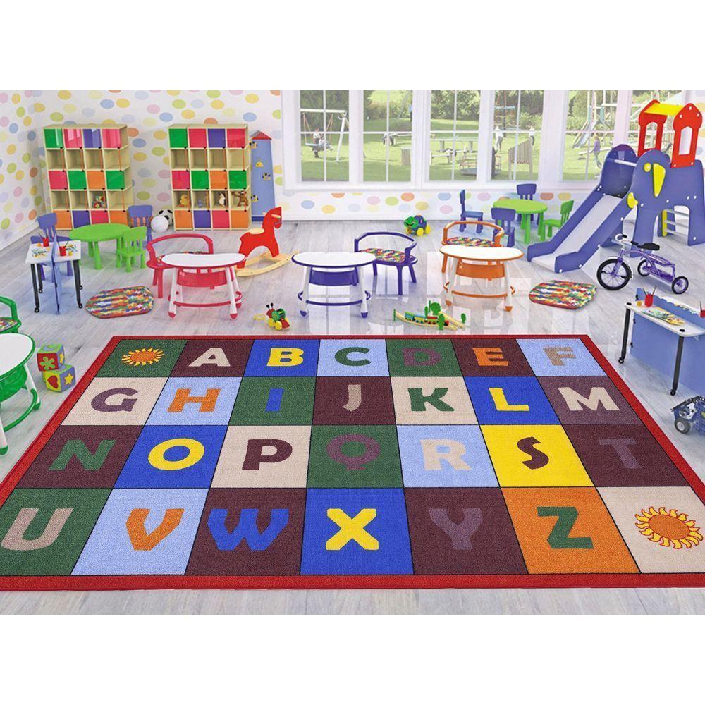 Jenny Collection Red Alphabet Design 8 Ft X 10 Non Slip Kids