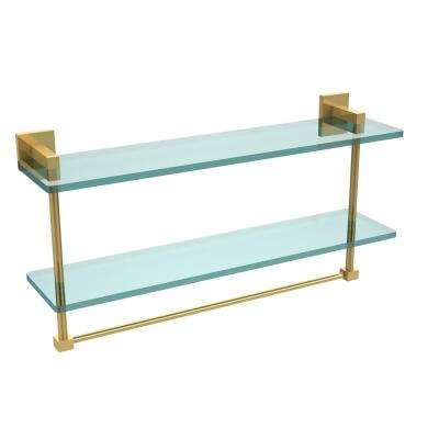 Montero 22 in. L  x 11-3/4 in. H  x 5-3/4 in. W 2-Tier Clear Glass Bathroom Shelf with Towel Bar in Polished Brass