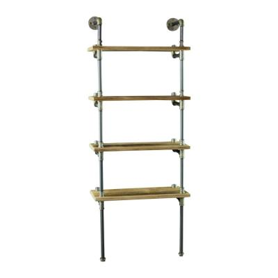 New Age 67 in. Brushed Brass/Aged Gray Metal 4-shelf Wall Mounted Etagere Bookcase