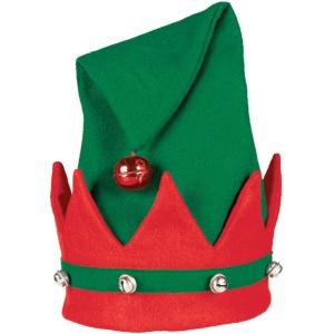 Mini Red /& Green Santa Helper Christmas Hat With Attached Bell Mini Elf Hat