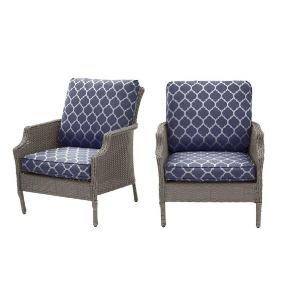 Grayson Ash Gray Wicker Outdoor Patio Lounge with CushionGuard Midnight Trellis Navy Blue Cushions (2-Pack)