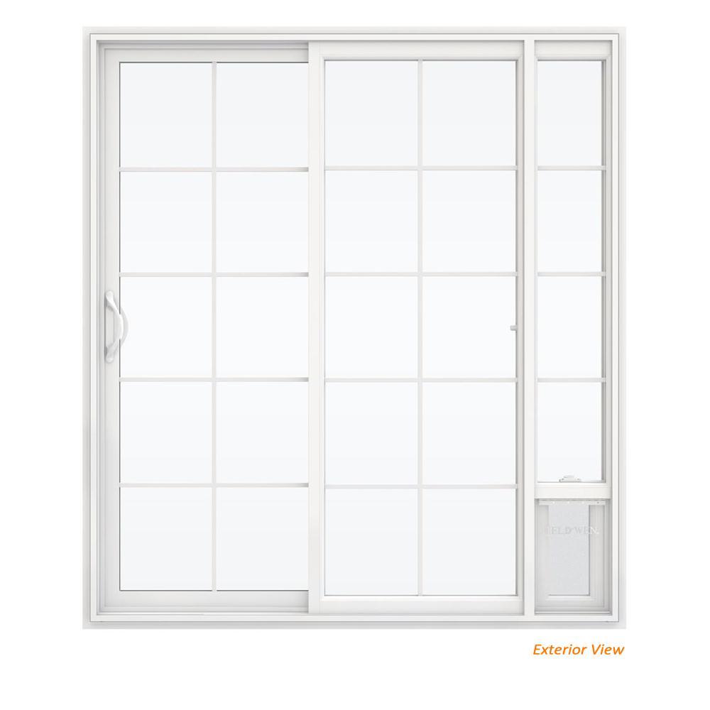 72 in. x 80 in. V2500 White Vinyl Prehung Left Hand 15 Lite Sliding Patio Door with Medium Pet Door