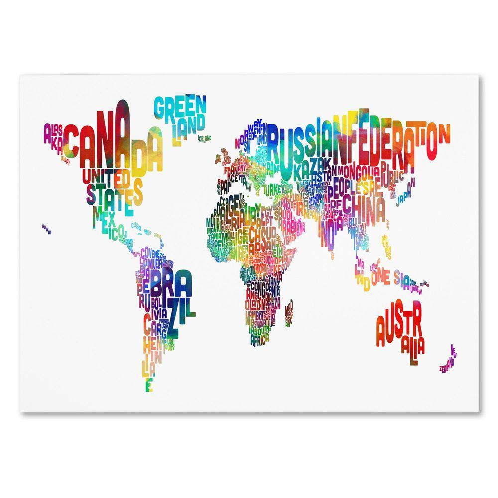 Trademark Fine Art 30 in. x 47 in. World Text Map Canvas Art