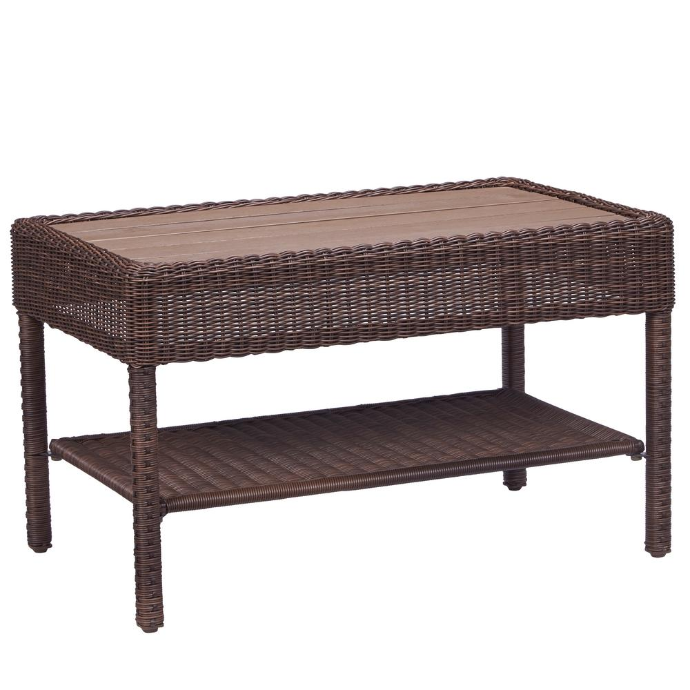 Hampton Bay Park Meadows Brown Wicker Outdoor Coffee Table