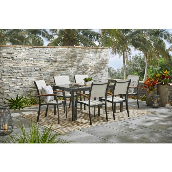 Hampton Bay Baymont 7 Piece Aluminum Patio Outdoor Patio Dining Set With Smoked Glass Table Top And Sling Dining Chairs 207 317 7d Sg2p The Home Depot
