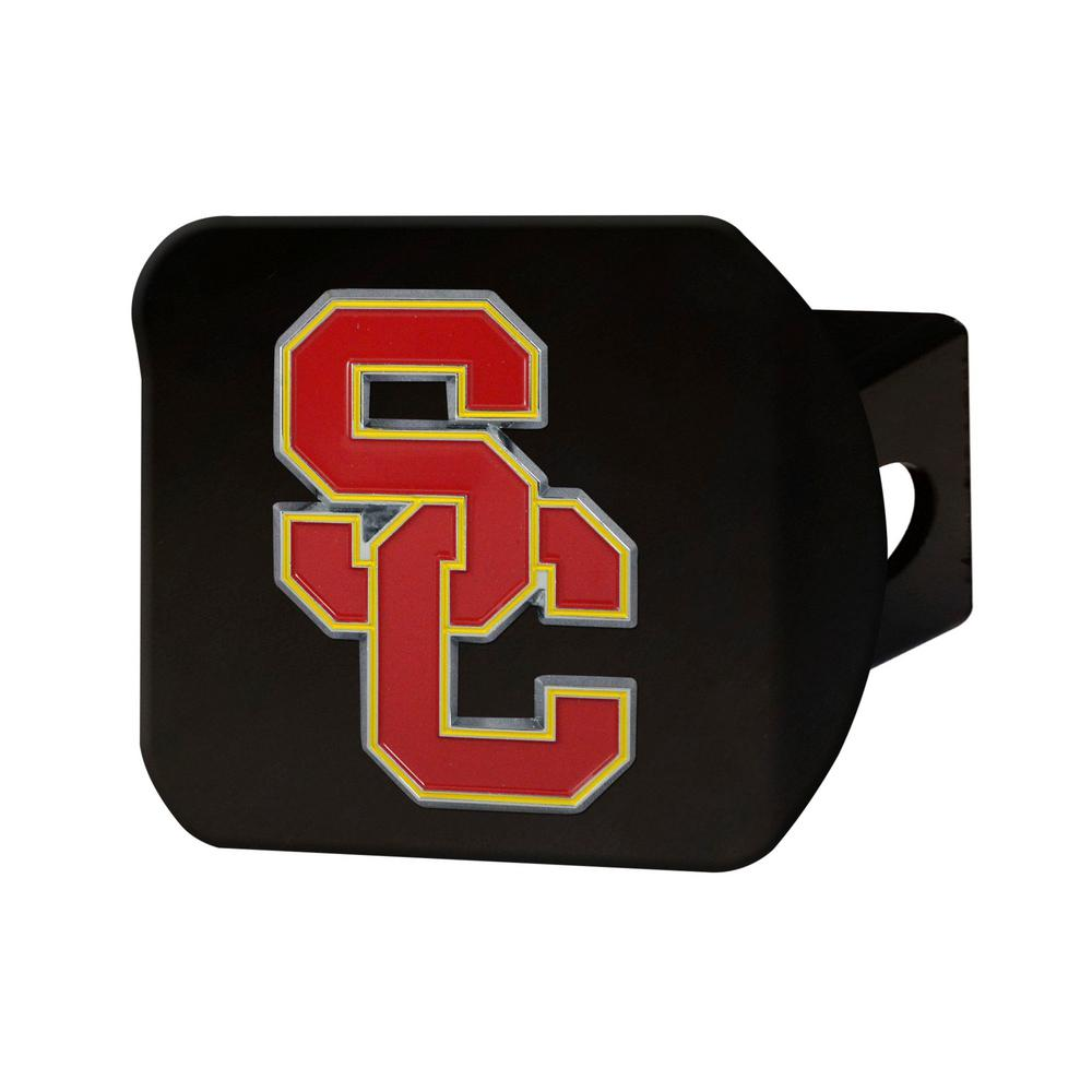 NCAA University of Southern California Color Emblem on Black Hitch Cover