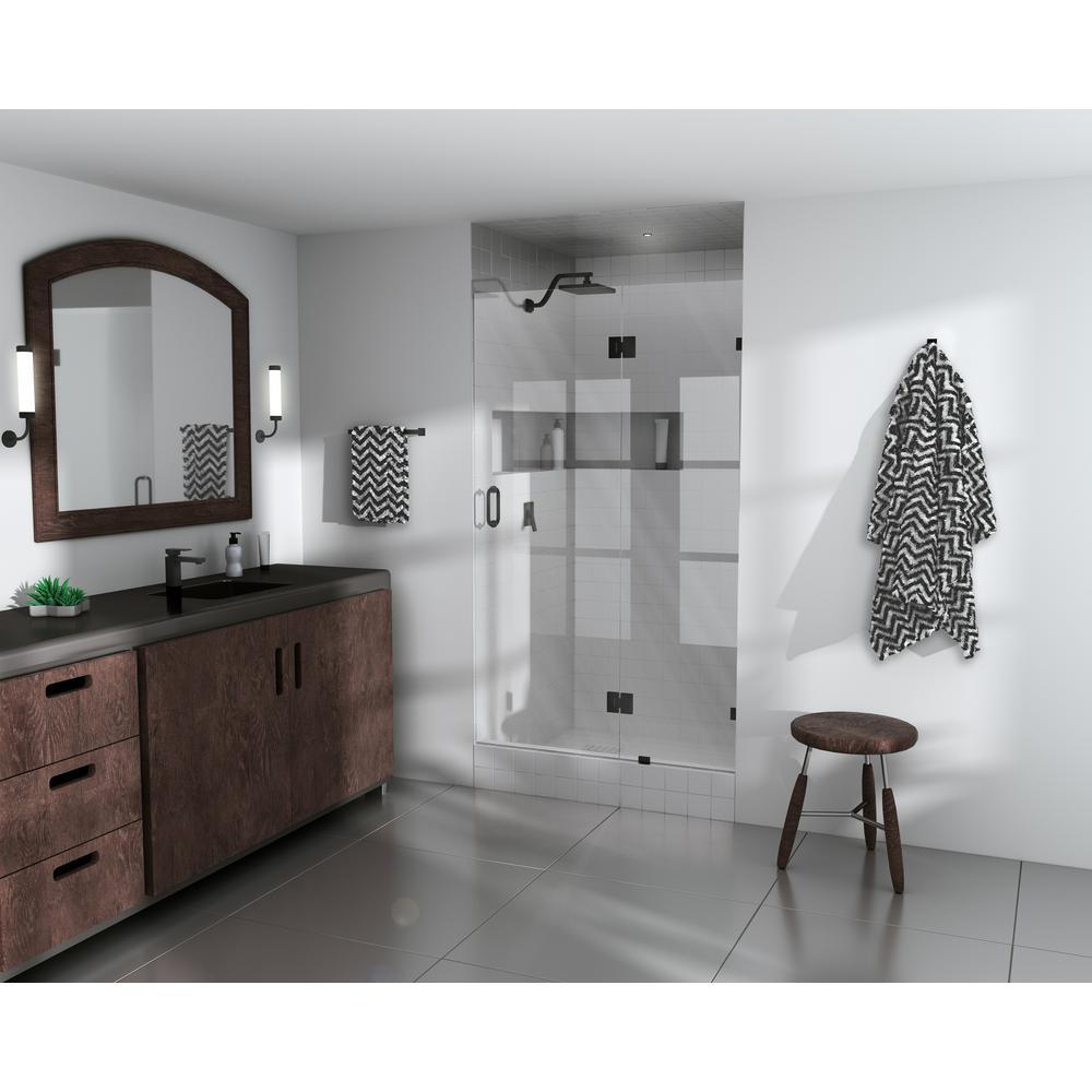 35.5 in. x 78 in. Frameless Pivot Glass Hinged Shower Door in Matte Black