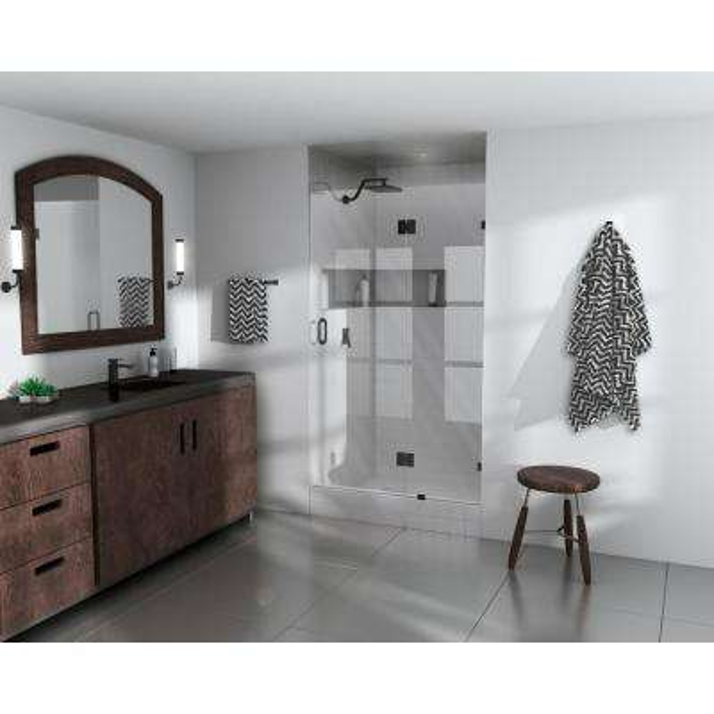 38 in. x 78 in. Frameless Pivot Glass Hinged Shower Door in Matte Black