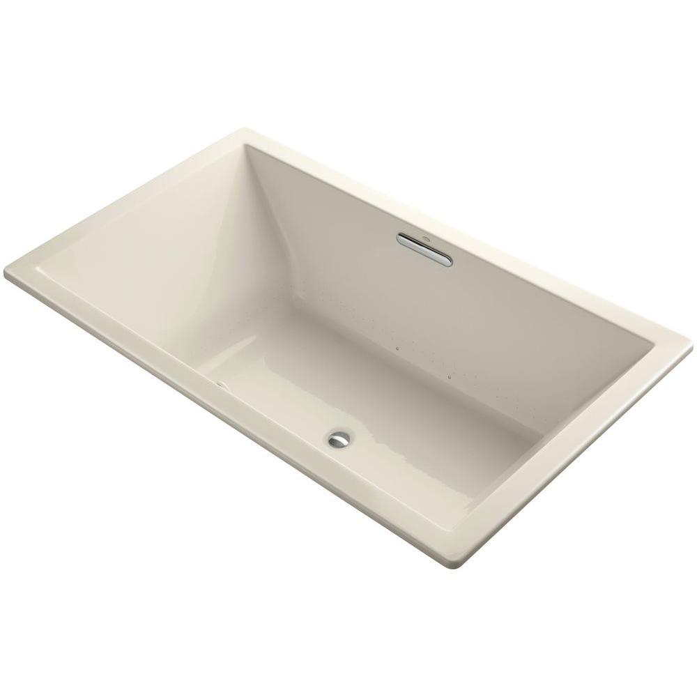 Underscore 6 ft. Acrylic Rectangular Drop-in or Undermount Whirlpool Bathtub in Almond