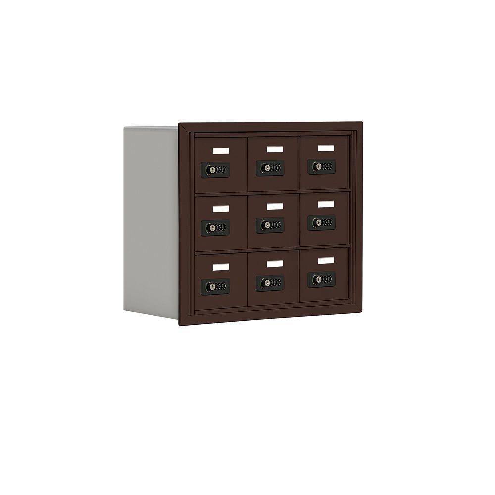 Salsbury Industries 19000 Series 24 in. W x 20 in. H x 8.75 in. D 9 A Doors R-Mount Resettable Locks Cell Phone Locker in Bronze