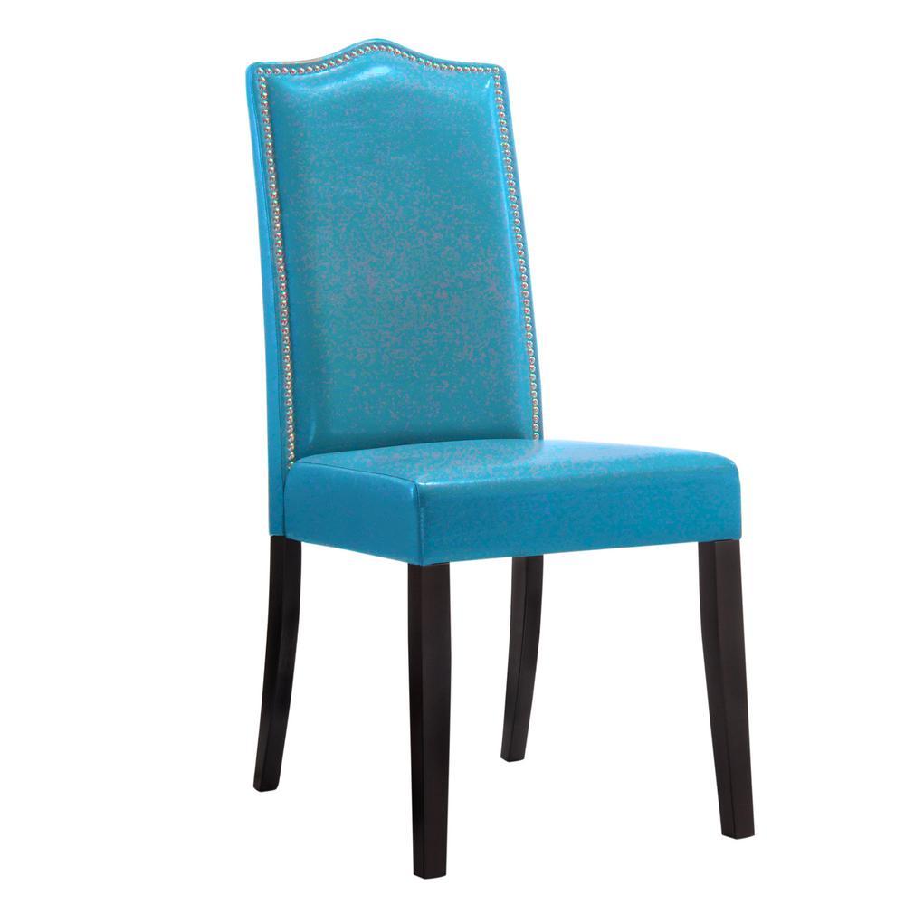 Carolina Cottage Edenton Blue Leatherette Nail Head Parson Side Chair