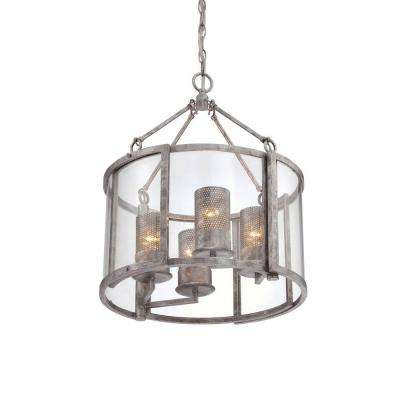 Jackson 4-Light Antique Silver Chandelier with Arched Windowpane Glass