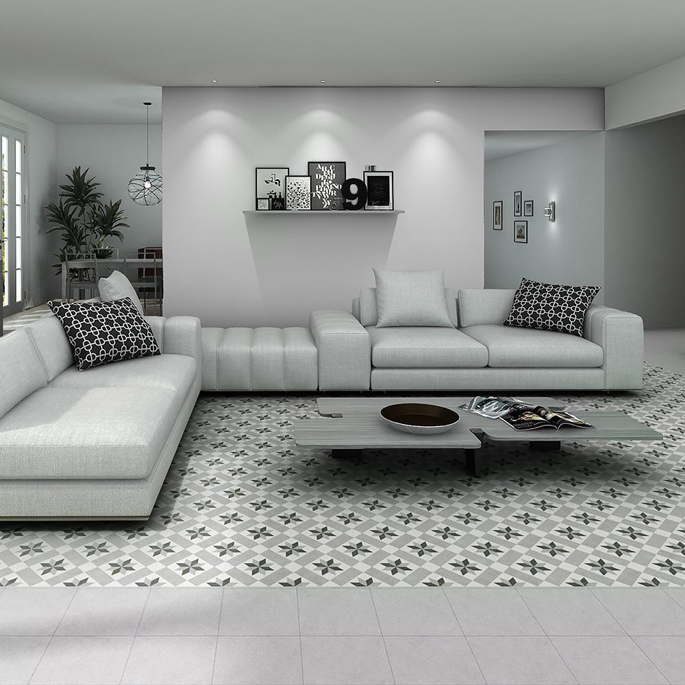 Merola Tile Vintage Star Grey Encaustic