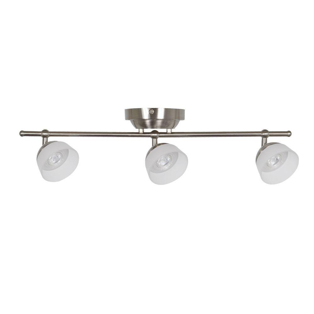 Madison 2 ft. 3-Light Satin Nickel LED Fixed Track with 400