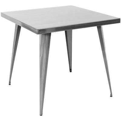 Austin 32 in. Brushed Silver Dining Table