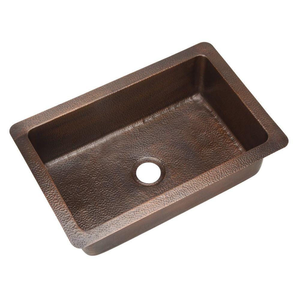 HOUZER Hammerwerks Series Chalet Chef Undermount Copper 32 In. Single Bowl  Lavatory Sink In Antique Copper HW CHA11   The Home Depot