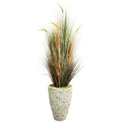 74 in. Tall Onion Grass with Cattails in 16 in. Fiberstone Planter