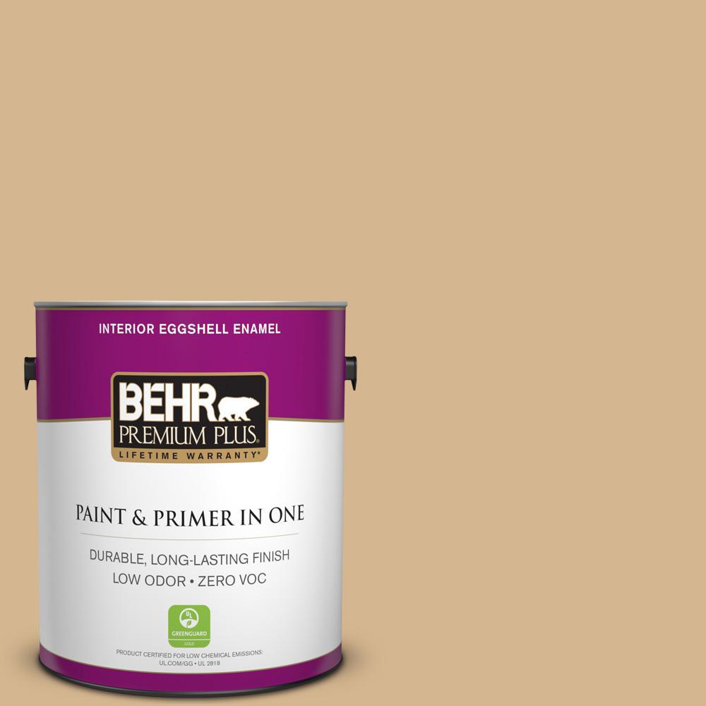 BEHR Premium Plus 1-gal. #320F-4 Desert Camel Zero VOC Eggshell Enamel Interior Paint