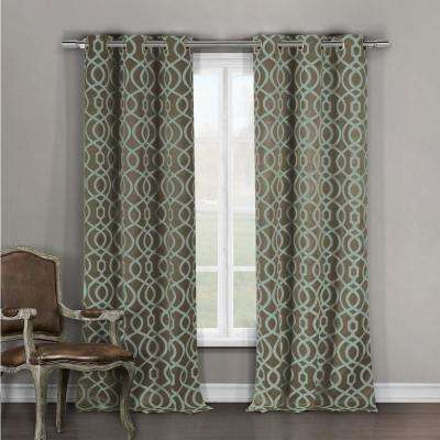 Geometric Teal-Taupe Polyester Blackout Grommet Window Curtain 36 in. W x 96 in. L (2-Pack)