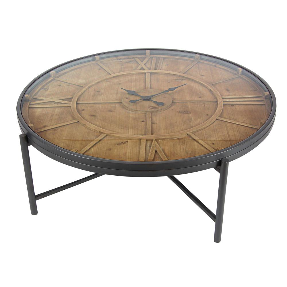 Litton Lane Stained Brown Clock Coffee Table