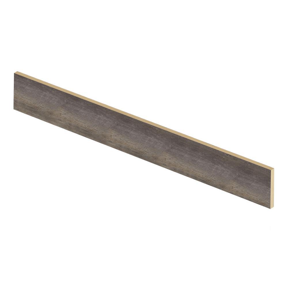 Seasoned Wood/Harrison Pine Dark/Augusta Wood 47 in. L x 1/2 in. T x 7-3/8 in. W Vinyl Overlay Riser Used w/Cap A Tread