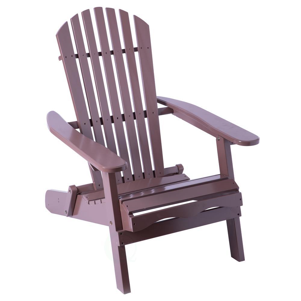 Brown Folding Wood Adirondack Outdoor Lounge Patio Deck Garden Chair